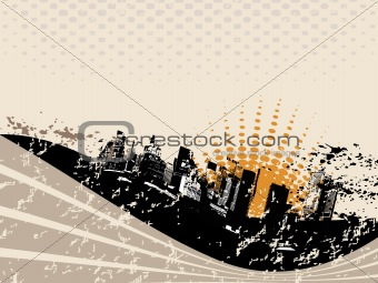 grunge city background with wave, vector illustration