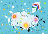Colorful design with clouds and kite