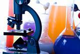 Microscope and atom & Laboratory glass