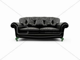 Black couch against white