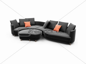 Black sofa against white