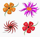 set colors flowers,objects isolated, hand drawn