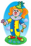 Cartoon clown girl on meadow