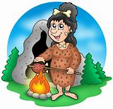Cartoon prehistoric woman before cave