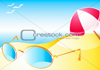 Beach with sun-glasses