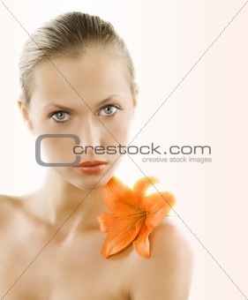 portrait with orange lily