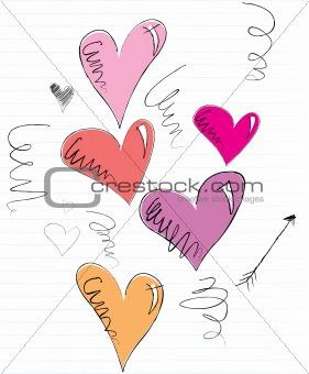 Sketchy Doodle Hearts