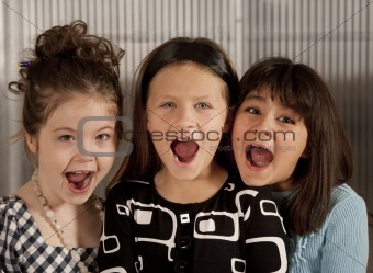 Three screaming girls