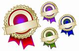 Set of Four Colorful Emblem Seals With Ribbons Ready for Your Own Text.