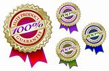 Set of Four Colorful 100% Elite Product Guarantee Emblem Seals With Ribbons.