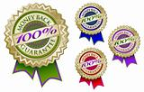 Set of Four Colorful 100% Money Back Guarantee Emblem Seals With Ribbons.