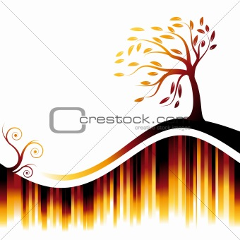 Abstract background bright, tree silhouette