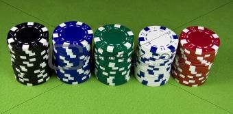 Five color poker casino stacks