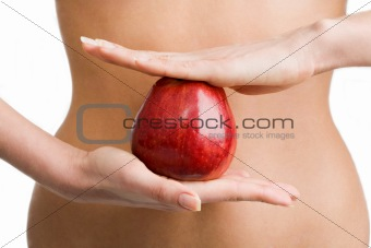 Apple between hands