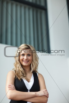 Attractive businesswoman looking at the camera