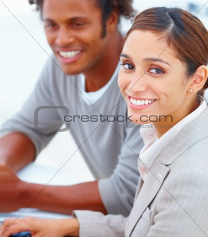 Portrait of happy businessman and businesswoman