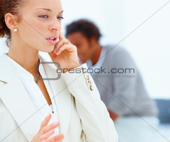 Business female having phone  conversation