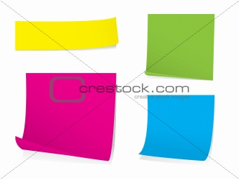 Bright post it note stickies with shadows