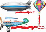 An old airplane, a balloon and airship