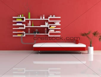 modern red and white couch and bookcase