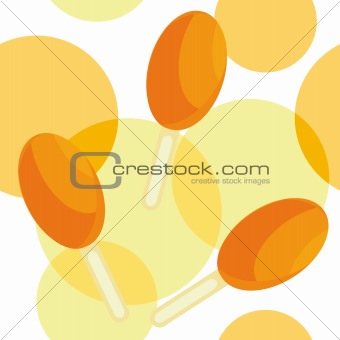 Seamless pattern with orange ice-cream