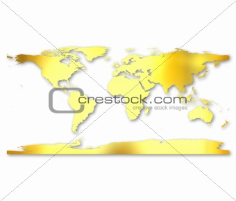3d Golden World Map