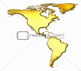 America 3d Golden Map