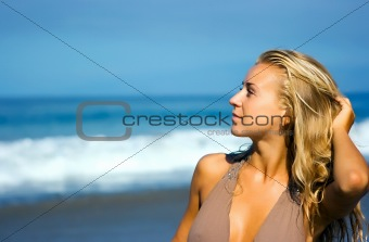 Blonde on beach