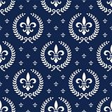Neoclassical seamless textile pattern with laurel wreath