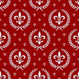 Neoclassical seamless textile pattern with laurel wreath in red