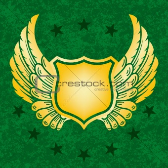 Gold shield on green grunge background
