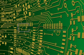 Green and Gold Circuit Board Background