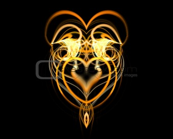 Abstract gold heart.