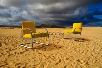 Sitting in desert