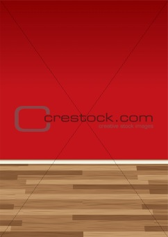 wood floor wall red