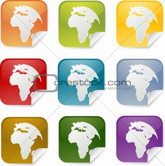 Africa square stickers