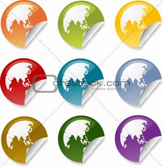 Asia round sticker