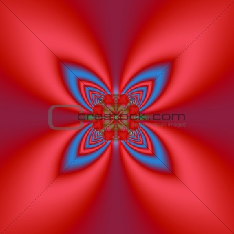 Four Leaf Fractal In Red & Blue
