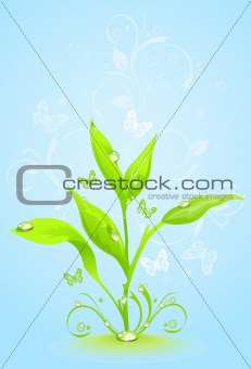 Green floral frame on a blue background