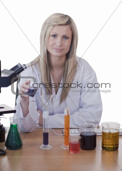 Blonde doctor conducting an experiment