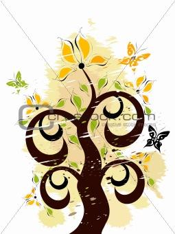 Grunge floral ornament