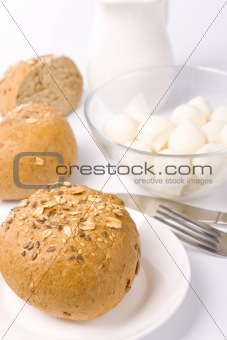 bread, milk and mozzarella