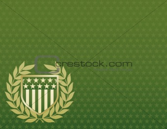 Green and Gold Shield on a Star Background