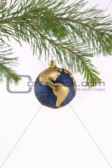 Blue and Gold Globe Christmas Ornament showing North and South A