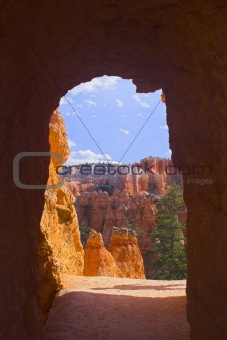 Arches of red rock