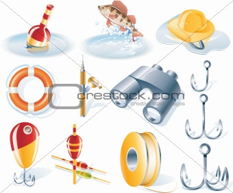 Vector fishing icon set