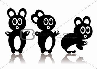 Three rabbits - vector image