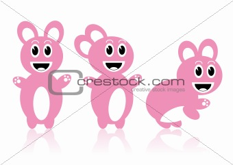 Three rabbits - vector image