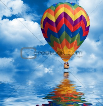 sky background and hot air balloon