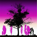 Couple silhouette, big tree old